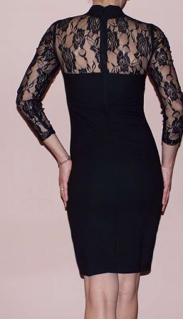 Rochie eleganta neagra din jerse si dantela - R571 [1]