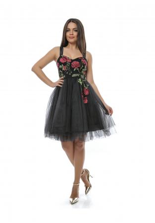 Rochie eleganta neagra din tull si broderie - R6270