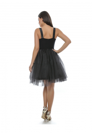 Rochie eleganta neagra din tull si broderie - R6271