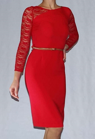 Rochie eleganta rosie din jerse si dantela - R5450