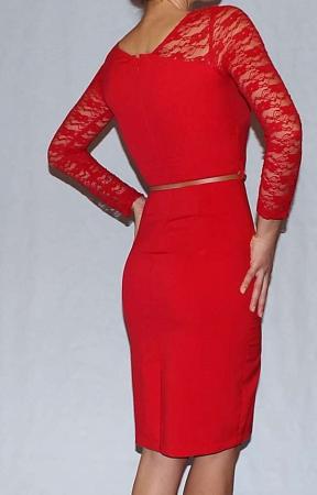 Rochie eleganta rosie din jerse si dantela - R5451