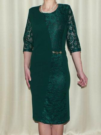 Rochie eleganta verde din stofa si dantela - Catrinel0