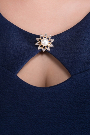 Rochie midi bleumarin cu accesoriu si maneca trei sferturi - Sofia2