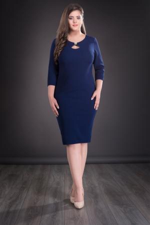 Rochie midi bleumarin cu accesoriu si maneca trei sferturi - Sofia0