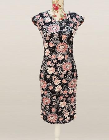 Rochie midi din jerse negru cu imprimeu floral - RF0540