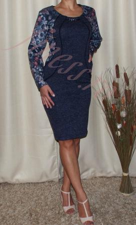 Rochie midi din tricot cu accesoriu la gat - Mariana1