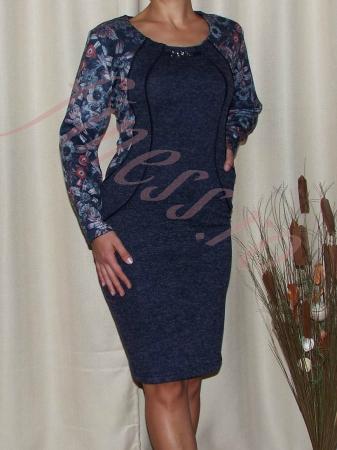 Rochie midi din tricot cu accesoriu la gat - Mariana0