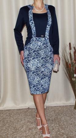 Rochie midi eleganta bleumarin cu imprimeu - Carmen1