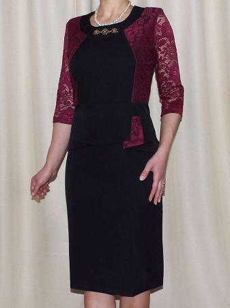 Rochie midi eleganta cu accesoriu la baza gatului - Renata Negru0