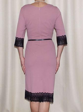 Rochie midi eleganta cu dantela neagra si curea - EVA1