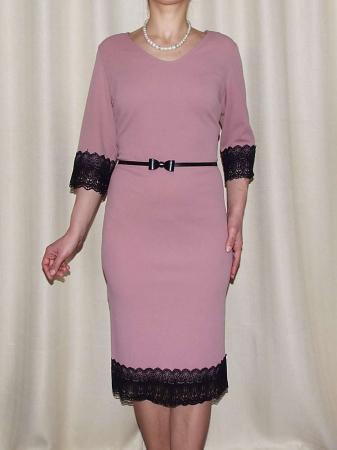 Rochie midi eleganta cu dantela neagra si curea - EVA0