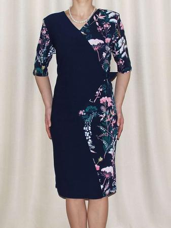 Rochie midi eleganta cu imprimeu floral - Otilia Bleumarin0