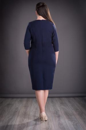 Rochie midi eleganta cu imprimeu si accesorii - Felicia Albastru1