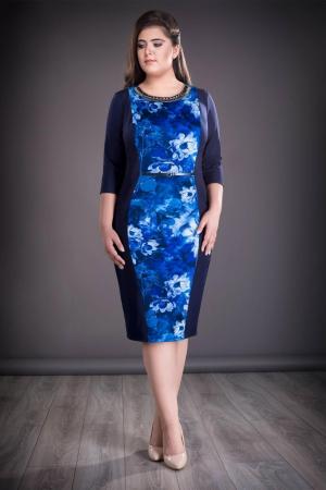 Rochie midi eleganta cu imprimeu si accesorii - Felicia Albastru0
