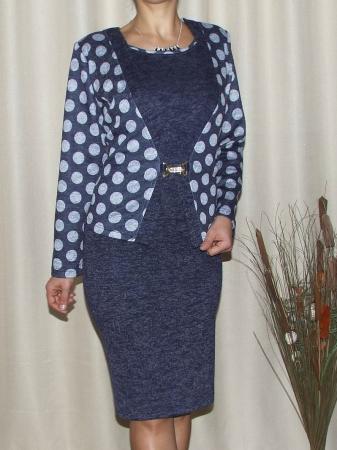 Rochie midi eleganta cu imprimeu si accesoriu - Alberta Bleumarin [0]