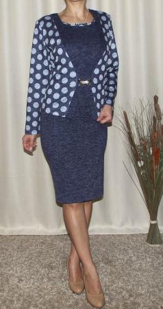 Rochie midi eleganta cu imprimeu si accesoriu - Alberta Bleumarin [1]