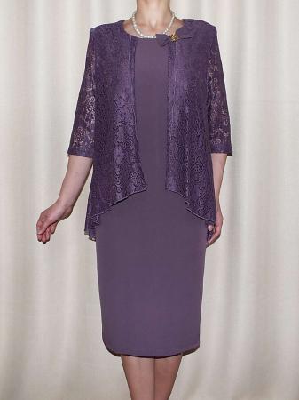Rochie midi eleganta cu maneca trei sferturi - Anastasia Mov0