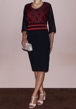 Rochie midi eleganta cu maneca trei sferturi - Anda Rosu1