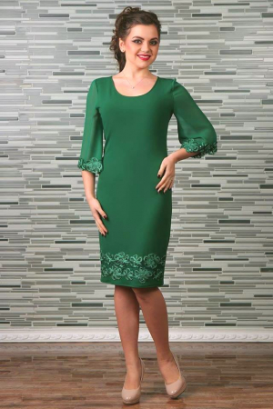 Rochie midi eleganta cu maneca trei sferturi - Cezara Verde [0]
