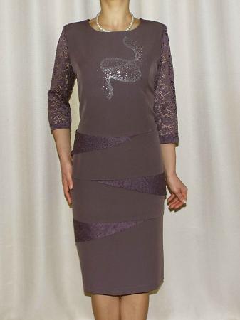 Rochie midi eleganta cu maneca trei sferturi - Ozana Mov0