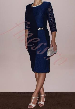 Rochie midi eleganta cu maneca trei sferturi - Selena Bleumarin [1]