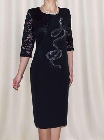 Rochie midi eleganta cu maneca trei sferturi - Veronica Negru0