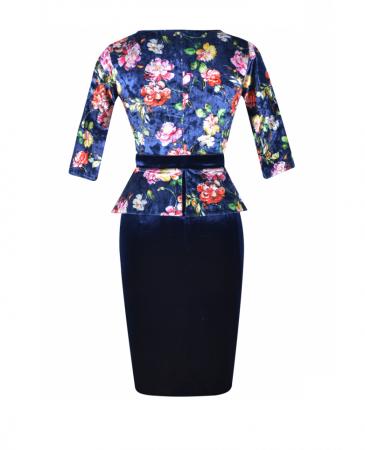 Rochie midi eleganta cu peplum si imprimeu - Hara Bleumarin2