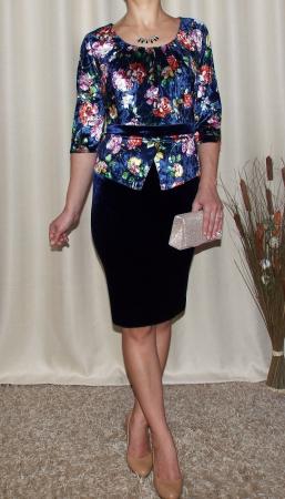 Rochie midi eleganta cu peplum si imprimeu - Hara Bleumarin1