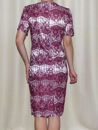 Rochie midi eleganta din dantela cu accesoriu - Ivona Grena1