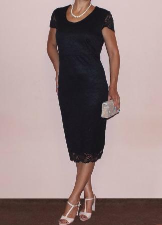 Rochie midi eleganta din dantela cu maneca scurta - Vega Negru1