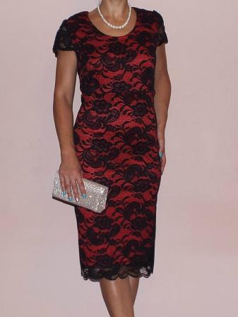 Rochie midi eleganta din dantela cu maneca scurta - Vega Rosu0