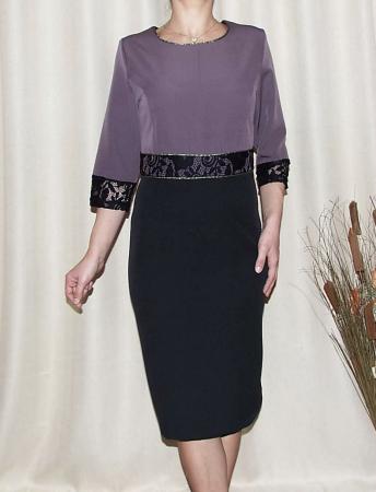 Rochie midi eleganta din stofa cu dantela - Edina Mov [0]