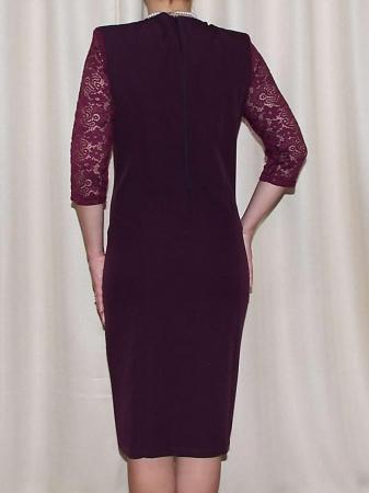 Rochie midi eleganta din stofa si dantela  - Antonia1