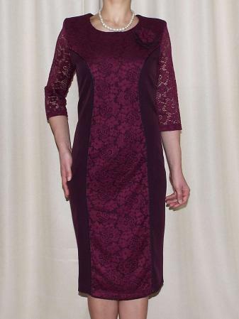 Rochie midi eleganta din stofa si dantela  - Antonia0