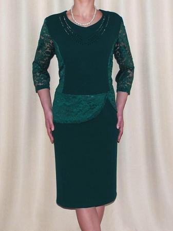 Rochie midi eleganta din stofa si dantela - Felicia Verde [0]