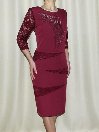 Rochie midi eleganta din stofa si dantela - Maria Grena0