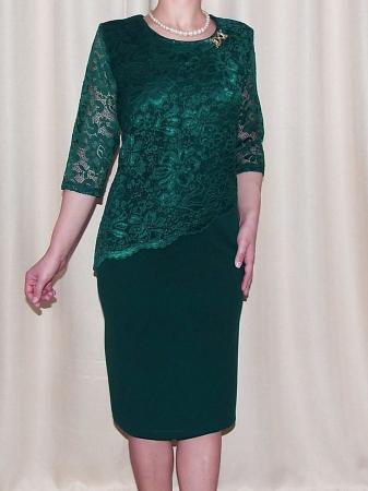 Rochie midi eleganta din stofa si dantela - Octavia Verde0