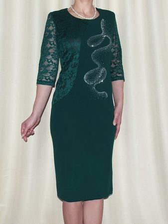 Rochie midi eleganta din stofa si dantela - Veronica Verde0