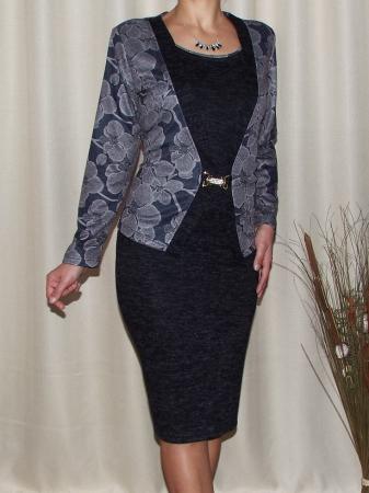 Rochie midi eleganta din tricot cu maneca lunga - Alberta Gri0