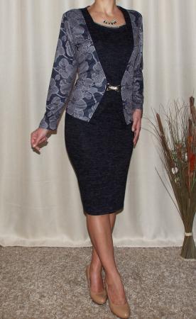 Rochie midi eleganta din tricot cu maneca lunga - Alberta Gri1
