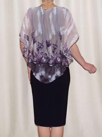 Rochie midi eleganta din voal si vascoza - Talia Floral [1]