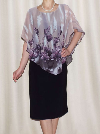 Rochie midi eleganta din voal si vascoza - Talia Floral [0]