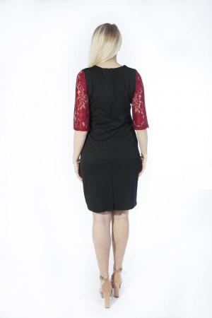 Rochie midi eleganta neagra cu dantela grena - Ruxandra1