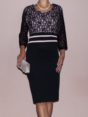 Rochie midi eleganta neagra din lacoste si dantela - Anda0