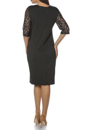 Rochie midi eleganta neagra din lacoste si dantela - Anda2