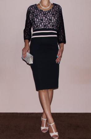 Rochie midi eleganta neagra din lacoste si dantela - Anda1
