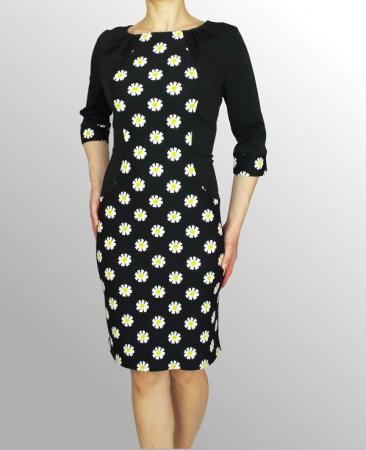 Rochie midi neagra cu margarete si maneca trei sferturi - Margareth [0]