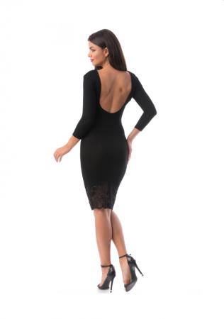 Rochie midi neagra cu spate gol si dantela pe poale - R60541