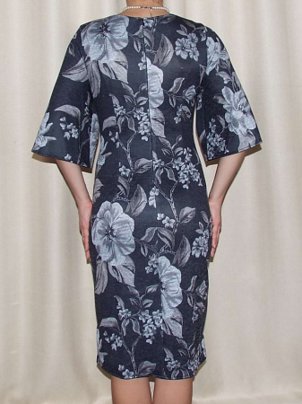 Rochie midi tricotata cu imprimeu floral - Carla Gri Inchis2