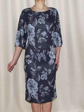 Rochie midi tricotata cu imprimeu floral - Carla Gri Inchis1
